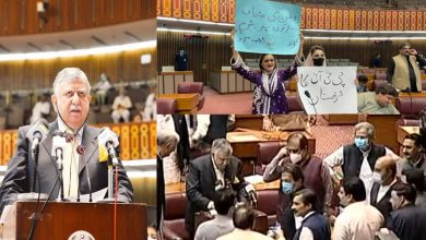 Photo of Opposition staged protest, chants slogans against govt during budget session